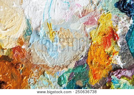 Hand Drawn Oil Painting, Abstract Art Background, Oil Painting On Canvas, Color Texture, Fragment Of