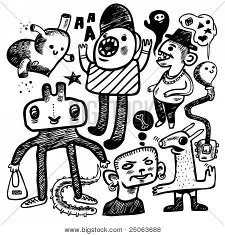 Hand-drawn doodles set. Vector illustration.