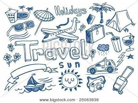 Hand drawn travel doodles. Vector illustration.