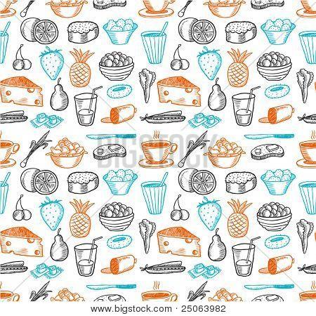 Food seamless doodles pattern. Vector illustration.