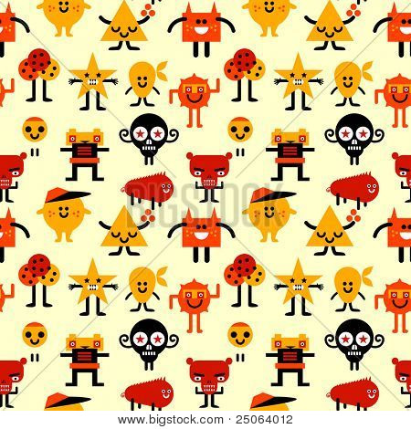 Seamless funny monsters pattern. Vector illustration.