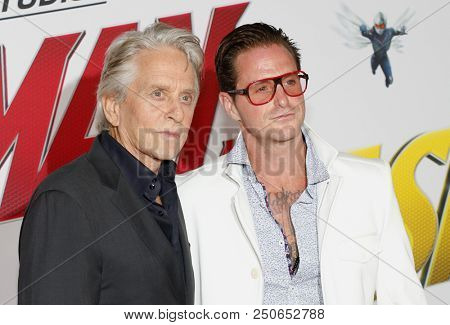 Michael Douglas and Cameron Douglas at the Los Angeles premiere of 'Ant-Man And The Wasp' held at the El Capitan Theatre in Hollywood, USA on June 25, 2018.