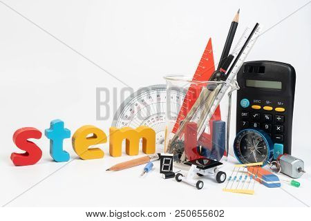Equipment Of Stem Education, Science, Technology, Engineering, Mathematics. Stem Education Concept I