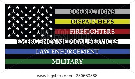 United States Of America Flag With Colored Lines Represent Corrections, Dispatchers, Firefigters, Em
