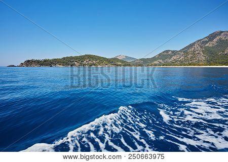 Panoramic View From Kumburnu Or Belcekiz Beach In Fethiye. Paragliding On Oludeniz Or Olu Deniz Beac
