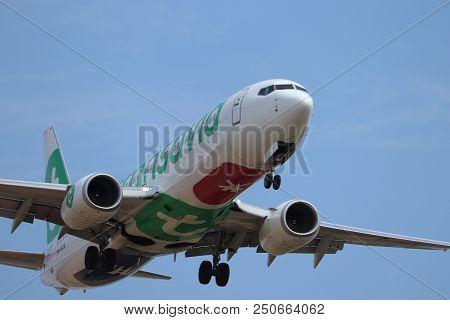 Amsterdam The Netherlands - July 22nd 2018: Ph-hxa Transavia Boeing 737-800, Final Approach To Schip