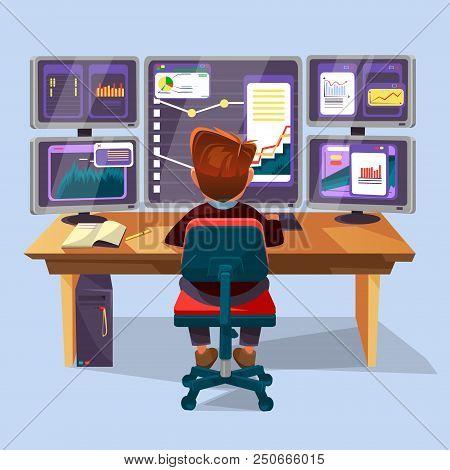 Cartoon Male Trader, Financial, Data Analyst Character Sitting Monitoring Graph Diagram Chart Monito
