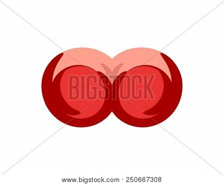 Big female Boobs in cartoon style red bra. Vector illustration of beautiful Female Breast with underclothes for Bra Store or Intime Shop, Vector illustration in EPS 10. poster