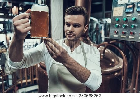 Brewer Standing With Mug Of Beer In Modern Brewery. Professional Brewer. Fermenting Beer. Metal Tank