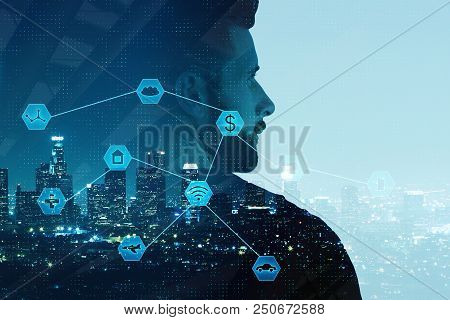 Businessman On Abstract Night City Background With Digital Business Interface. Artificial Intelligen