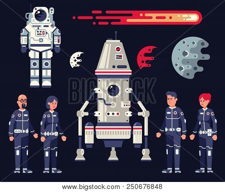 Space Set In The Flat Style - Landing Module, Spaceship, Spacesuit, Crew Of Astronauts Of Men And Wo