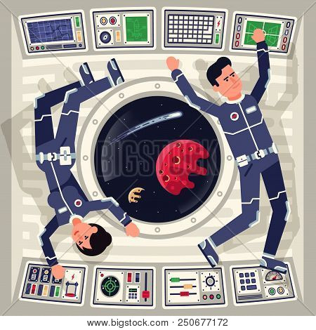 Male And Female Astronauts  In Zero Gravity On A Spaceship Flying Around The Window In Which The Cos