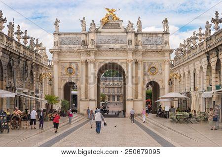Nancy, France - 21 June 2018: Arc De Triomphe Héré In The Place Stanislas Square.