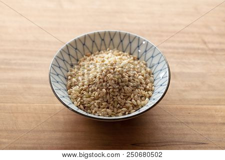 Genmai, or brown rice. The whole grain of rice of Japanese rice, which the germ or outer bran layers have not been removed. Also called unpolished rice. poster
