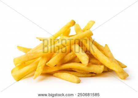 A Bunch Of Fried French Fries On A White Background, Close-up. Isolated.