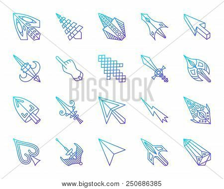 Mouse Cursor Thin Line Icons Set. Outline Vector Web Sign Kit Of Arrow. Click Linear Icon Collection