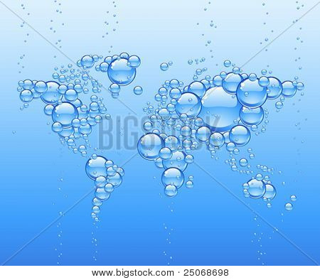 Vector worldmap made of bubbles