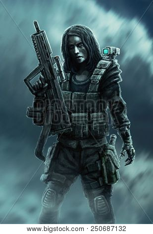 Woman Soldier With Gun. Painted Illustration In Fiction Genre. Female Heroic Character.