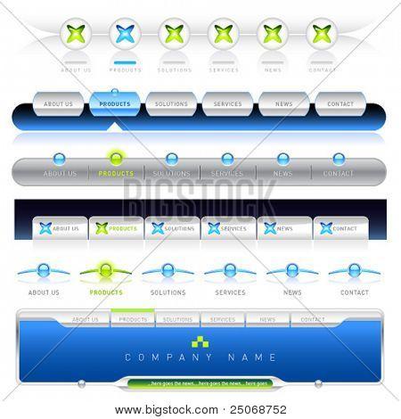 Vector limpio, fácil de editar las plantillas de navegación web 6