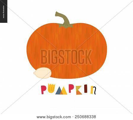 Food Patterns, Summer - Vegetable, Flat Vector Illustration - Orange Ripe Pumpkin, Dark Orange Geome