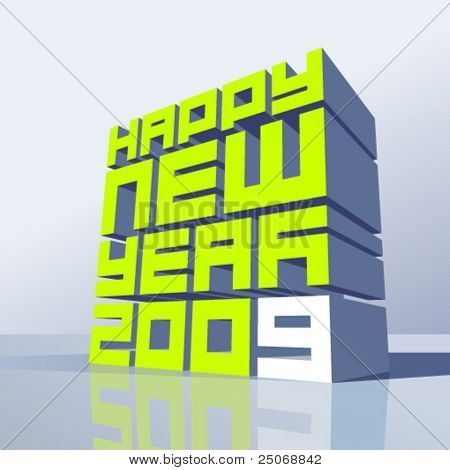 Vector New year 2009. Change the colors as you wish
