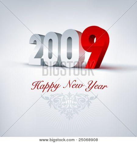 Vector greeting card 2009. Editable