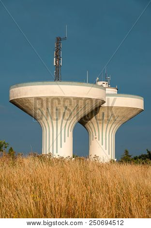 Ystad Water Towers, Unusual Architectural Design. Stock Photo.