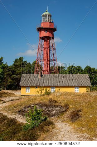 Sandhammaren Lighthouse In The Afternoon. Stock Photo.