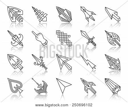 Mouse Cursor Thin Line Icons Set. Outline Web Sign Kit Of Arrow. Click Linear Icon Collection Includ