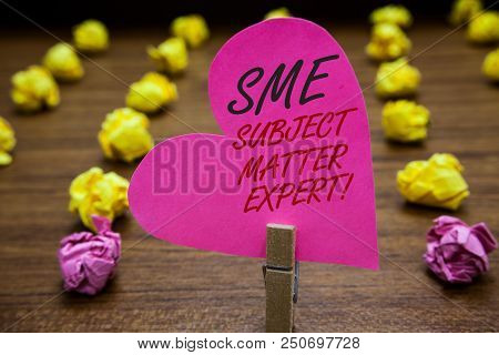 Text Sign Showing Sme Subject Matter Expert. Conceptual Photo Authority In A Particular Area Or Topi