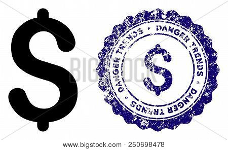 Dollar Danger Trends Round Stamp In Grunge Blue And Clean Black Styles. Rubber Seal Stamp With Grung