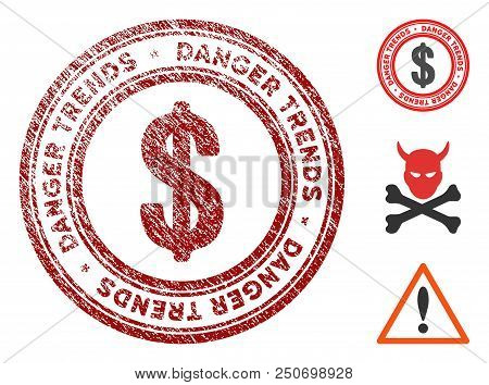 Economics Danger Trends Grunge Round Stamp With Warning Icon. Vector Red Seal With Distress Effect F