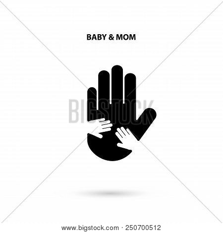Big Hand And Small Hand Icon.idea Of The Sign For The Association Of Care.hand In Hand Concept.baby