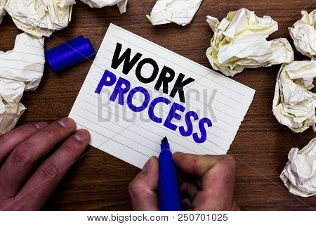 Writing Note Showing Work Process. Business Photo Showcasing Standard Procedures How To Handle A Par