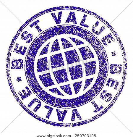 Best Value Stamp Imprint With Distress Texture. Blue Vector Rubber Seal Imprint Of Best Value Text W