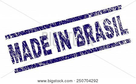 Made In Brasil Stamp Seal Watermark With Grunge Style. Blue Vector Rubber Print Of Made In Brasil Ca