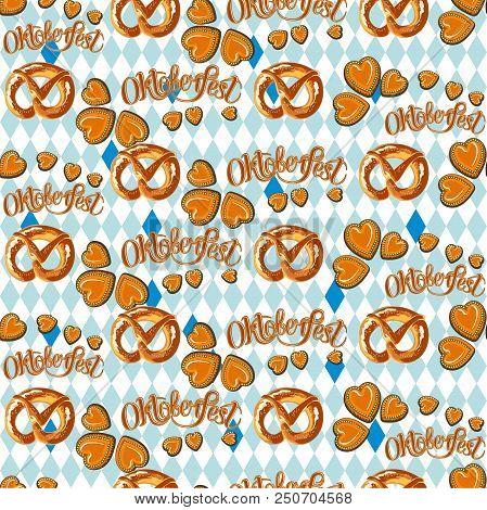 Seamless Vector Oktoberfest Pattern. Pretzel Illustration. Gingerbread In The Shape Of Heart.