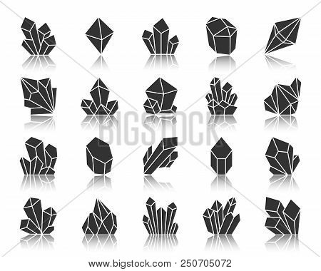 Crystal Silhouette Icons Set. Monochrome Sign Kit Of Gemstone. Mineral Pictogram Collection Includes
