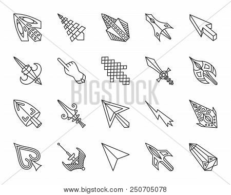 Mouse Cursor Thin Line Icons Set. Outline Sign Kit Of Arrow. Click Linear Icon Collection Includes P