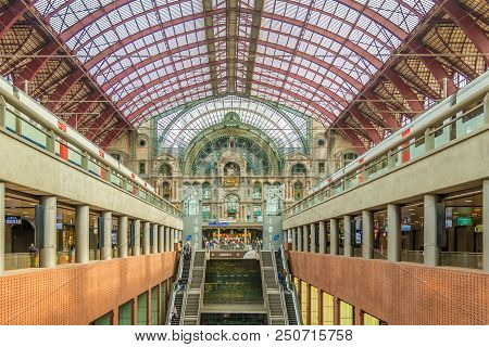 Antwerp,belgium - May 18,2018 - Inside Of Central Station In Antwerp. Antwerp Is A City In Belgium,