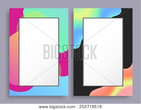 Abstract Photoframes With Blurred Pattern On Borders, Empty Frames With Place For Text, Vector Illus