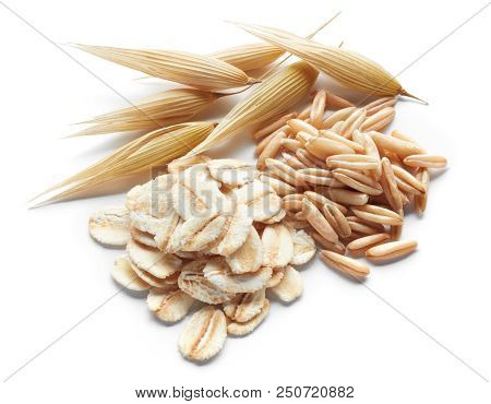 Processed, Unprocessed And Crops Of Oat Isolated On White