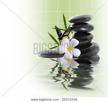 Spa still life with yellow flowers poster