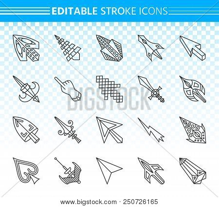 Cursor Thin Line Icons Set. Outline Web Sign Kit Of Arrow. Click Linear Icon Collection Includes Poi