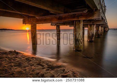 Pier In Frankston, Victoria, Australia At Sunset In The Summer