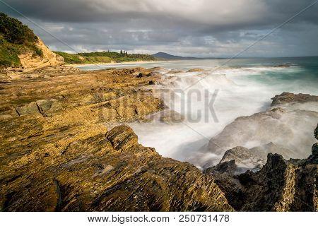 Coast In Nambucca Heads In New South Wales, Australia, Long Exposure Shot