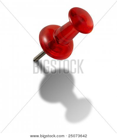 Red push-pin isolated on the white background, clipping path included.