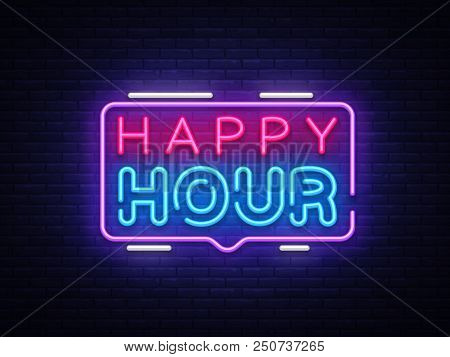 Happy Hour Neon Sign Vector Design Template. Happy Hour Neon Logo, Light Banner Design Element Color
