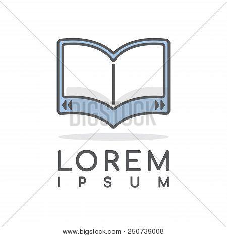 Ebook Vector Logo Design Template Editable Stroke, Line Minimal Tablet Icon, Education Abstract Sign