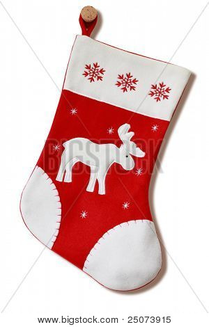 Christmas stocking isolated on the white background, clipping path included.